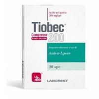Tiobec 200 Retard compresse Fast-Slow Integratore alimentare di acido-alfa-lipoico, consigliato nel trattamento delle neuropatie herpetiche e post herpetiche, e come coadiuvante a trattamenti topici per rallentare i fenomeni di invecchiamento precoce.